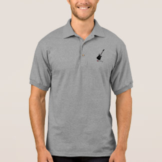 Polo shirt with illustration of an electric guitar