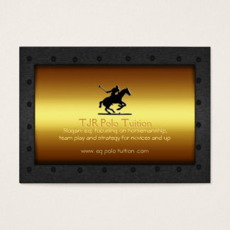 Polo Tutor - Polo Player, steel-framed gold panel Business Card