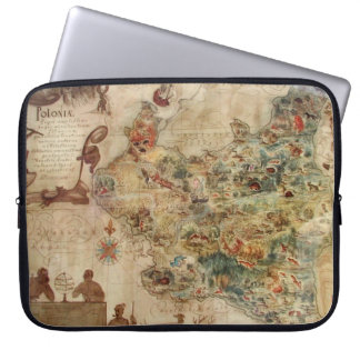 POLONIA ANTIQUE MAP OF POLAND LAPTOP SLEEVE