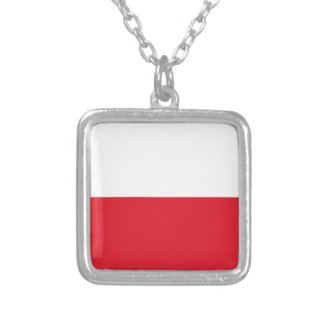 Polonian flag silver plated necklace