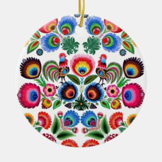 Polska Folk Flowers Round Ceramic Ornament