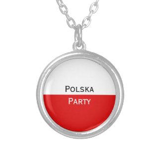 Polska Polish Flag Silver Plated Necklace
