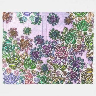 Poly Chromatic Flowers Fleece Blanket