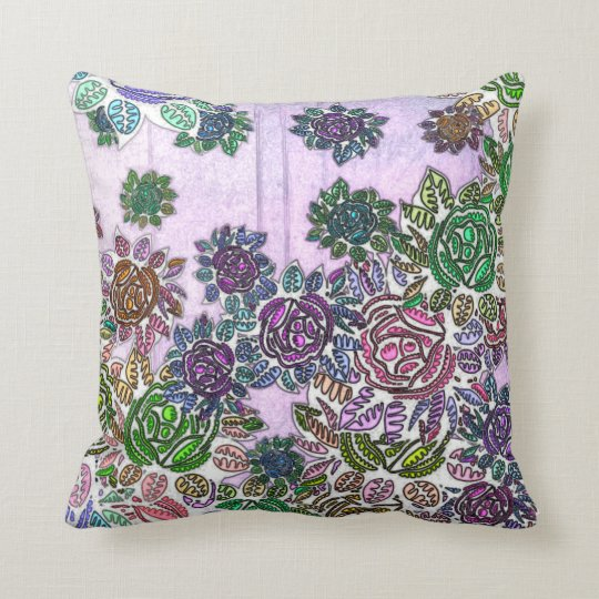 Poly Chromatic Flowers Throw Pillow