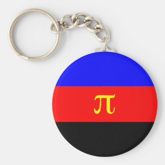 Polyamory Flag -- Pi 3-color Basic Round Button Keychain