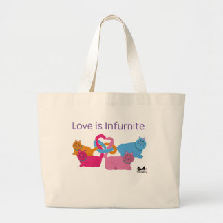 Polyamory Heart Cats Large Tote Bag