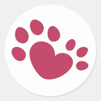 Polydactyl Cat Paw Print Heart Classic Round Sticker
