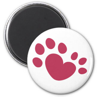 Polydactyl Cat Paw Print Heart Magnet