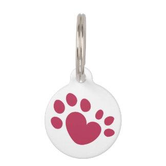 Polydactyl Cat Paw Print Heart Pet ID Tag