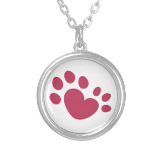 Polydactyl Cat Paw Print Heart Silver Plated Necklace