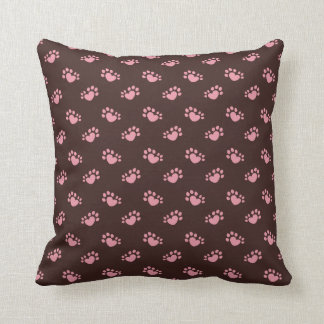 Polydactyl Cat Paw Print Heart Throw Pillow
