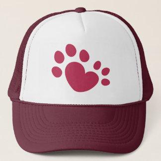 Polydactyl Cat Paw Print Heart Trucker Hat