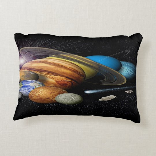 Polyester Brush Solar System Mural Accent Pillow
