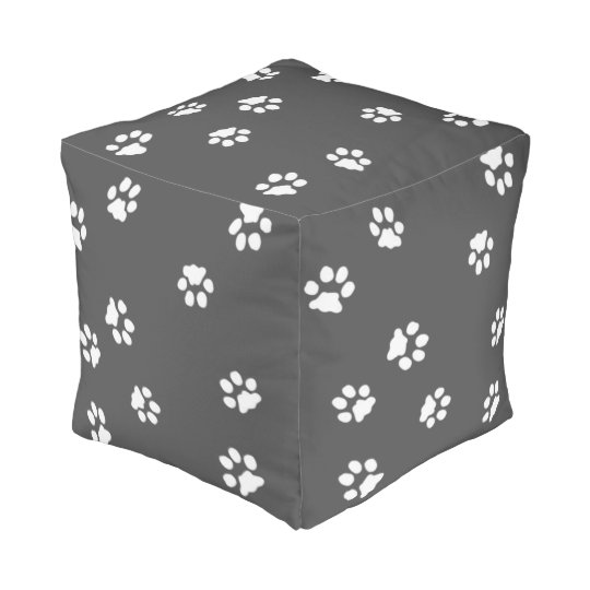 Polyester Cubed Pouf Pattes Blanche/Gris