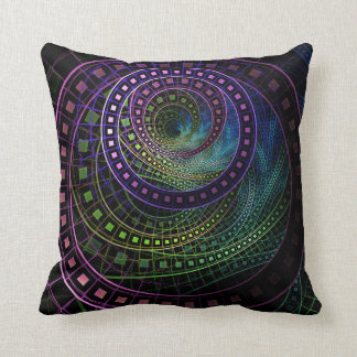 Polyester Pillow with Technicolor Fractal Rainbow