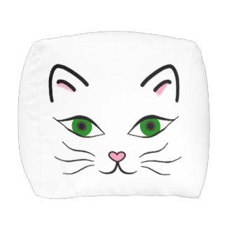 Polyester Small Cubed Pouf - Kitty Face