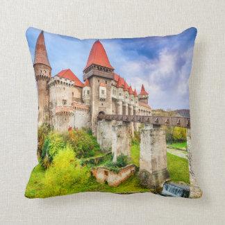 Polyester Throw Pillow, Corvin castle Throw Pillow