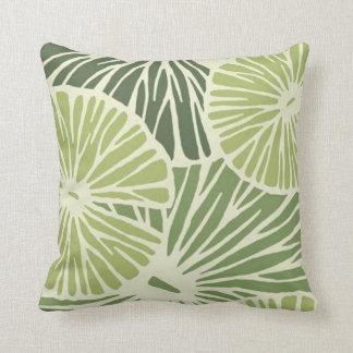 Polyester Throw Pillow, Green flower/leaf print Throw Pillow