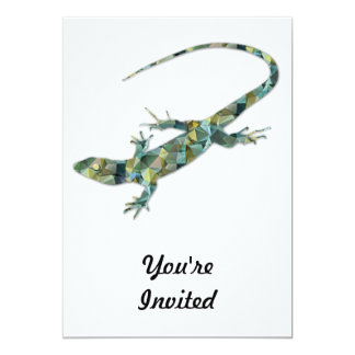 Polygon Mosaic Green Lizard Card