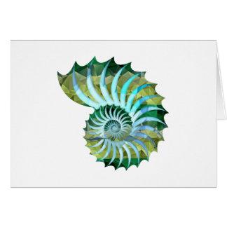 Polygon Mosaic Nautilus Shell Blue & Green Card
