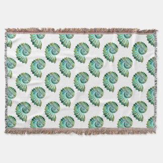 Polygon Mosaic Nautilus Shell Blue & Green Throw Blanket