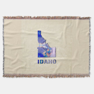 Polygon Mosaic Parchment Map IDAHO Throw Blanket
