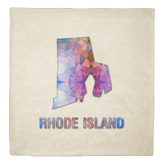 Polygon Mosaic Parchment Map RHODE ISLAND Duvet Cover