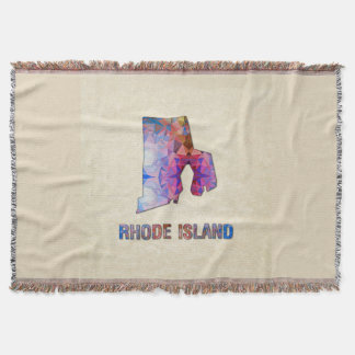 Polygon Mosaic Parchment Map RHODE ISLAND Throw Blanket