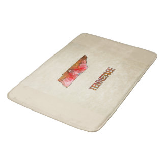 Polygon Mosaic Parchment Map TENNESSEE Bath Mat