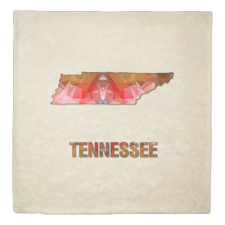 Polygon Mosaic Parchment Map TENNESSEE Duvet Cover