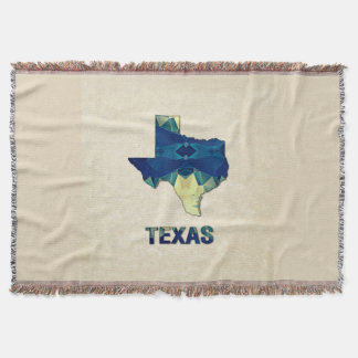 Polygon Mosaic Parchment Map TEXAS Throw Blanket