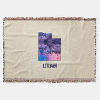 Polygon Mosaic Parchment Map UTAH Throw Blanket