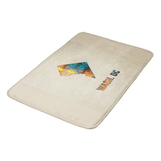 Polygon Mosaic Parchment Map WASHINGTON DC Bath Mat
