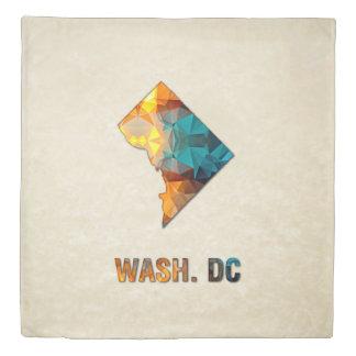 Polygon Mosaic Parchment Map WASHINGTON DC Duvet Cover