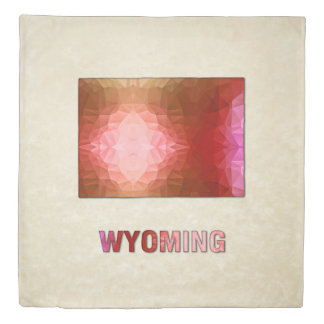 Polygon Mosaic Parchment Map WYOMING Duvet Cover