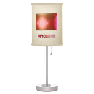 Polygon Mosaic Parchment Map WYOMING Table Lamps