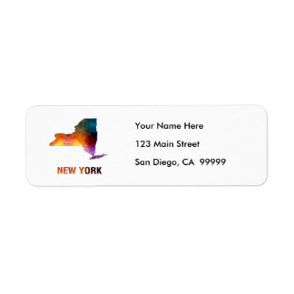 Polygon Mosaic State Map  NEW YORK Return Address Label