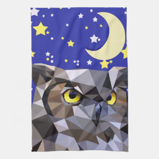 Polygon Owl and Starry Night Sky Hand Towels