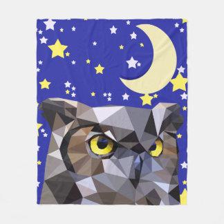 Polygon Owl and Starry Sky Fleece Blanket