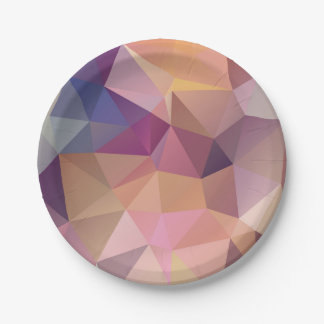 Polygon pink purple yellow background . paper plate