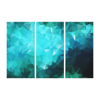 Polygonal Aquamarine 3-Panel Wrapped Canvas Print