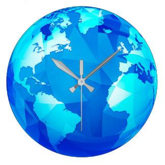 Polygonal Earth Globe World Map Round Wall Clock