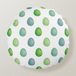 Polygonal eggs pattern in green colours round pillow