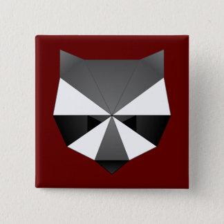 Polygonal Raccoon 2 Inch Square Button