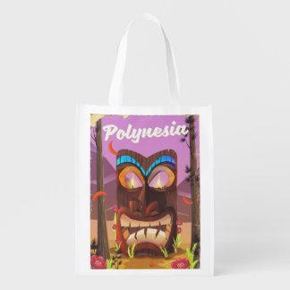 Polynesia Tiki mask Reusable Grocery Bag