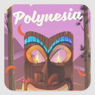 Polynesia Tiki mask Square Sticker