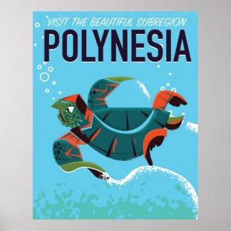 Polynesia vintage sea turtle travel poster