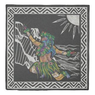Polynesian Hula Dancer Tapa Print Duvet Cover