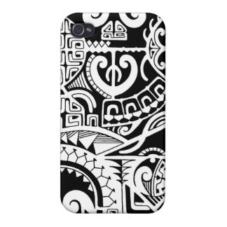 Polynesian lizard and mask tattoo design iPhone 4/4S case