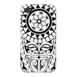 Polynesian sun & mask tattoo design case for the iPhone 4